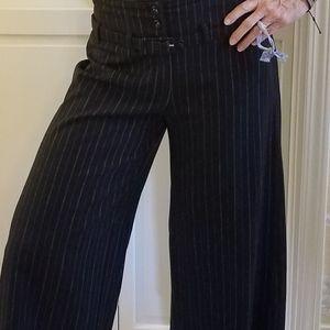 Black pinstripe gaucho (wide leg crop) pant
